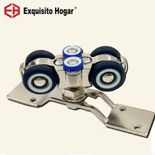 Moving 360 Degree Door Hanging Round Glass Hardware Pulley Hanging Mute Rail Wheel Balcony Sliding Cabinet 4 Wheel(China)
