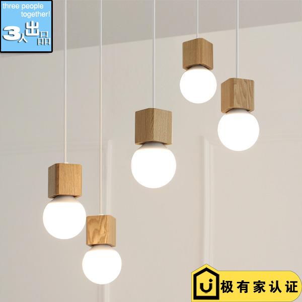 ФОТО Modern Small Square Wood Pendant Lamp Fixture Cafe Bar Dining Room Couture Wooden Lighting