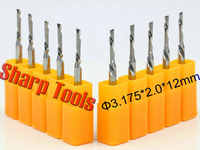 Left Helical Milling Cutter-3.175*2.0*12mm 1 Flute Down Cutter Wood CNC Milling Tool, Woodworking Router Tools Bit on Smooth Cut