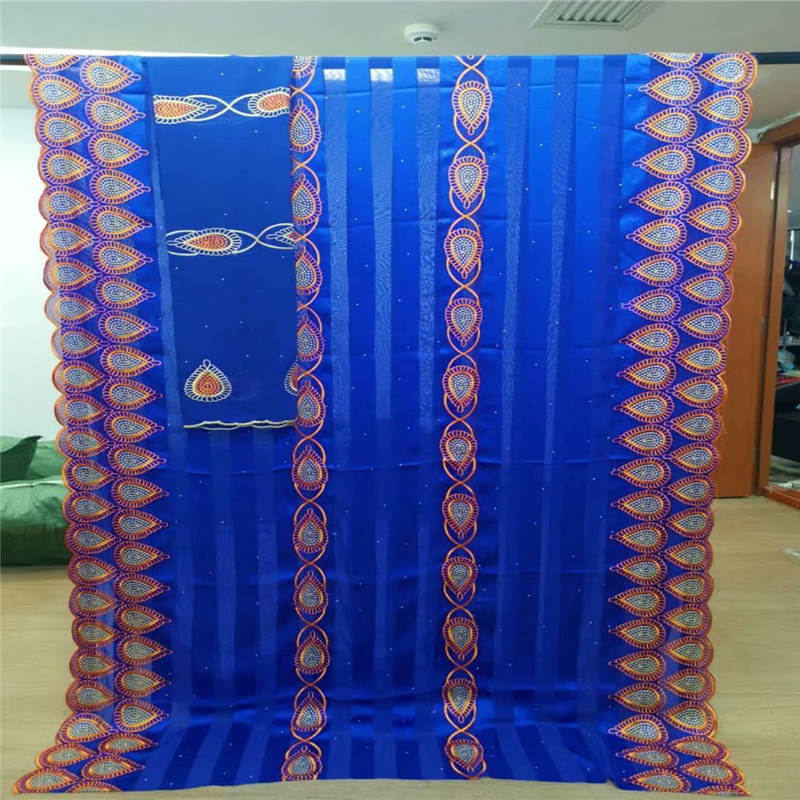 HL!Hot sale Gahna Style satin silk fabric  with organza ribbon African wax hollandais design 5+2 yards ! J60302HL!Hot sale Gahna Style satin silk fabric  with organza ribbon African wax hollandais design 5+2 yards ! J60302