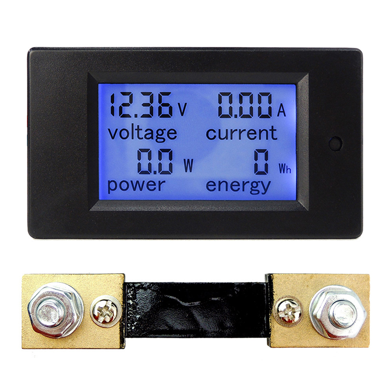 DC 6.5-100V 0-100A LCD Display Digital Current Voltage Power Energy Meter Multimeter Ammeter Voltmeter w/ 100A Current Shunt