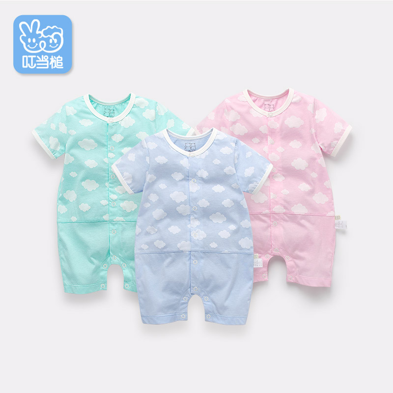 Dinstry Baby clothes baby short-sleeved Cloud pattern summer   romper