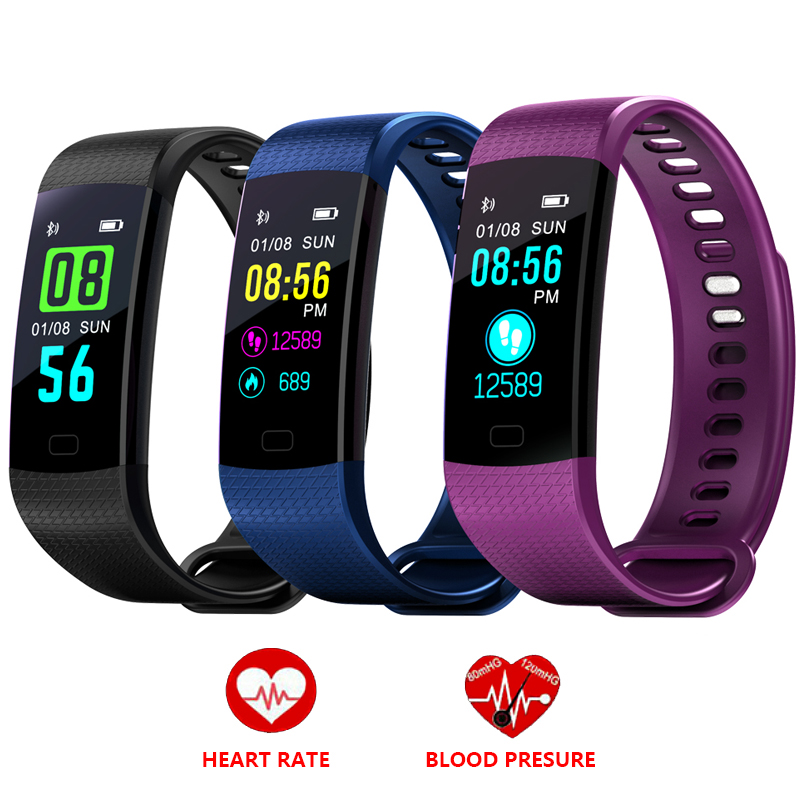 Sport Fitness Bracelet Smart Wristbands Heart Rate Monitor Blood Pressure Tracker Digital Smart Watch Color Touch Screen y5 goral