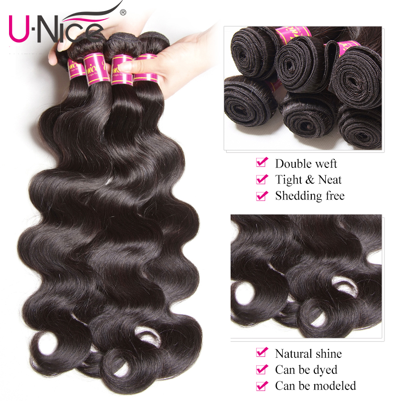 Image 4 - UNICE Hair Body Wave Bundles With 5X5 Closure Brazilian Hair Weave 3 Bundles With Closure 100% Human Hair Bundles 4PCS-in 3/4 Bundles with Closure from Hair Extensions & Wigs