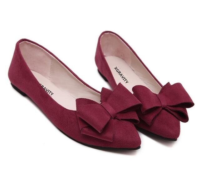0c001d89126 Caliente chica de confort es Bowtie zapatos planos de diseñador de Punta  zapatos de mujer zapatos de primavera coreano Candy pisos chica calzado  C002 en ...