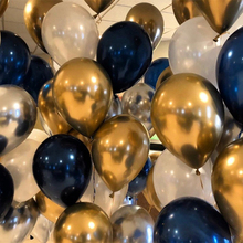 40pcs Balloons set Mixed Chrome Gold Navy Blue Silver  Pearl White Colors for Graduation Wedding & Engagement Birthday