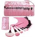 2016 Nueva Corea 32 Unids Superior Suave Maquillaje Cosmético Del Kit del Sistema de Cepillo con Bolsa de Cuero Rosa Fundación Polvo Facial Pinceles Maquiagem