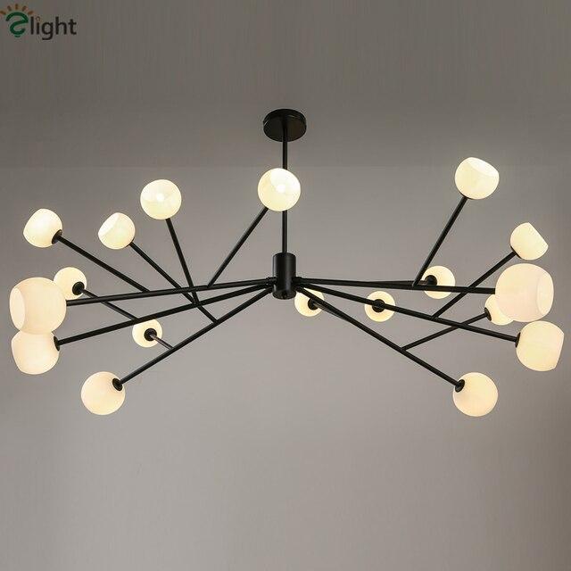 18 lumières lustre g4 noir lustre araignée globes led lustres de baisse luminaria lustre éclairage pour