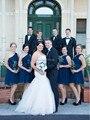 Elegant Navy Blue Short Bridesmaid Dress One Shoulder Party Gown Chiffon Wedding Party Dresses 2015 Vestido De Festa Curto