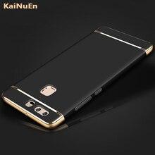 Роскошные сзади Coque чехол для Huawei P9 Lite Plus p9lite жесткий пластик оригинальный черный телефон случаях 3 в 1 Аксессуары
