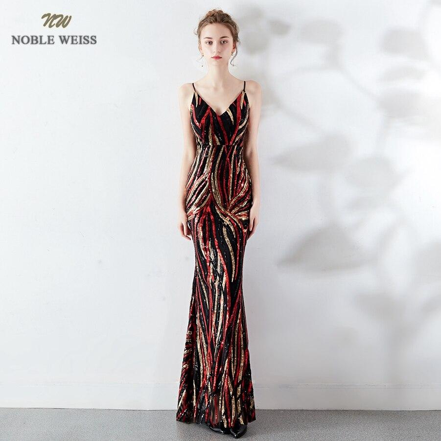 Robes de bal 2019 sexy longue sirène robe de bal vestidos de fiesta largos col en v dos nu coloré sequin robes de soirée