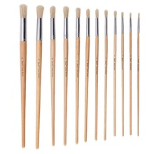 12Pcs Round Head Bristle Hair Paint Brush Wood Handle Oil Acrylic Painting Brush for Artist Painting Brushes Art Supplies 6pcs fine bristle hair oil paint brush set filbert head woodlen handle professional paintbrush for artist oil painting supplies