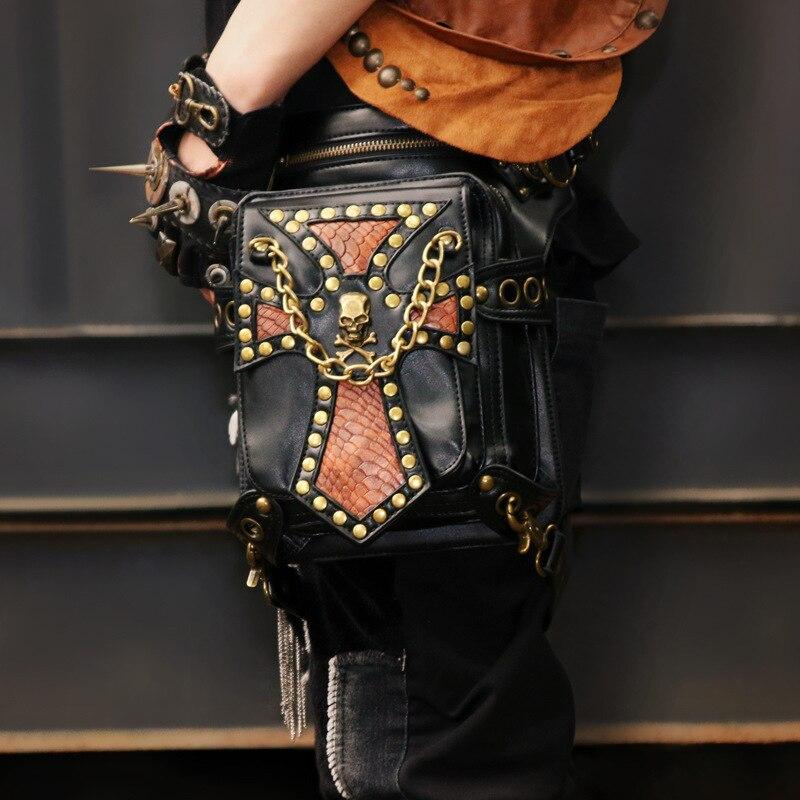 Unisex Black PU Leather Skull Rivet Punk Rock Leg Holster Waist Bag Gothic Crossbody Bags Steampunk Corsets Outfits Accessories