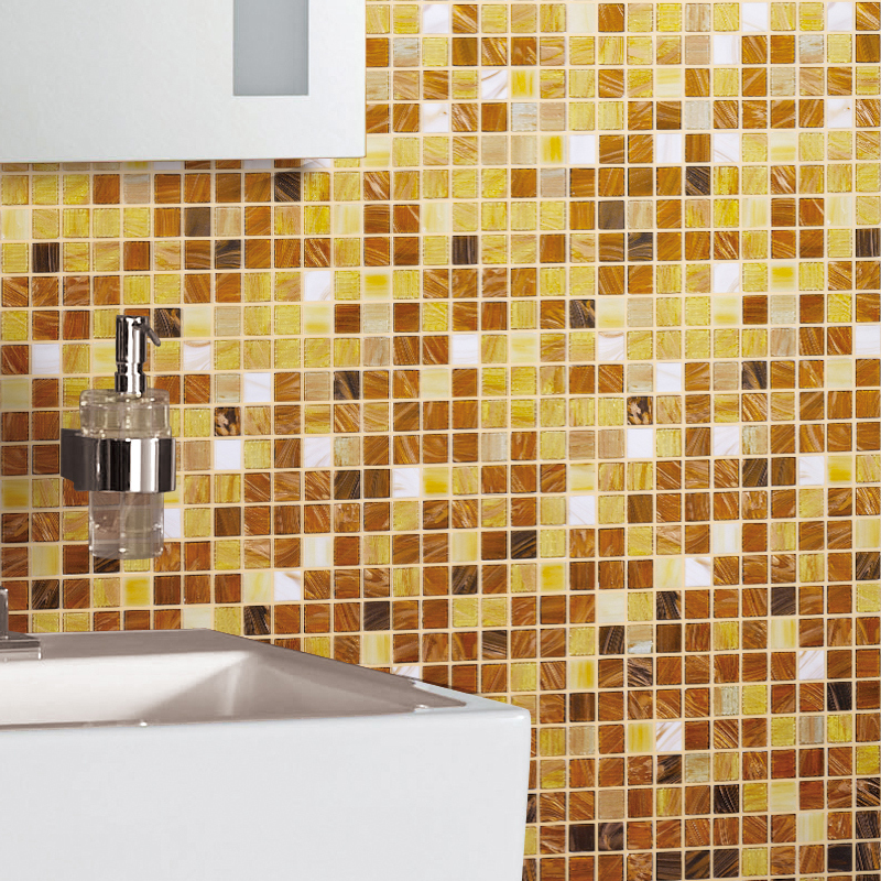 Gradient White Yellow Glass Mosaic Tile Swimming Pool bathroom ...
