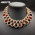 AWAYTR Vintage Twisted Singapore Chain Choker Necklace Women Fashion Baroque Style Choker Crystal Beads Fine Necklaces