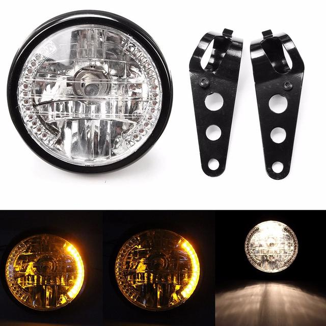 7inch 35W Amber LED Round Motorcycle Headlight With Turn Signal For Harley Chopper Cafe Racer Bobber With Bracket