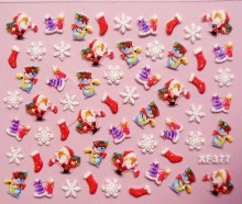 3D Christmas gift design Water Transfer Nails Art Sticker decals lady women manicure tools Nail Wraps Decals XF377
