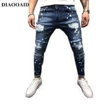 2018 nueva moda Jeans hombres Pantalones Casual Zipper Streetwear Hip Hop  recta mezclilla personalidad masculina Pantalones c7f8c08fe3d