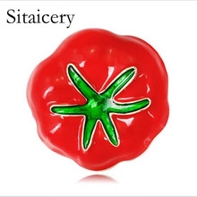 Sitaicery Red And Green Enamel Tomato Brooch Pins For Women Bag Shoes Dress Charming Pin Accessories Halloween New Years Gifts