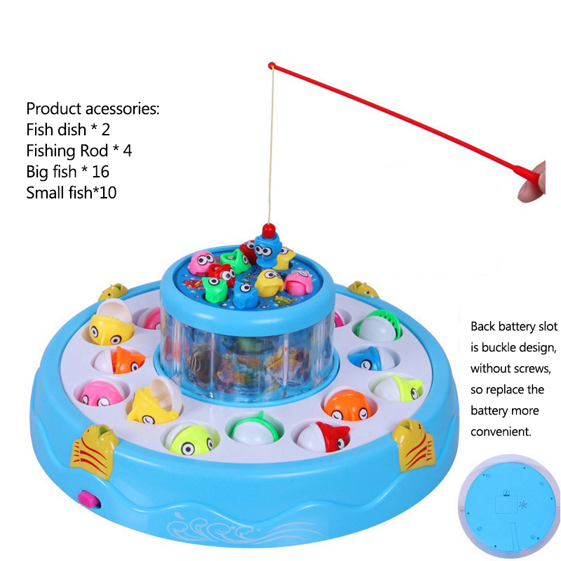 Music Light Magnetic Fishing Toy Electric 360 Rotating Fishing Toy Play Fishing Games Children Double-Layer Outdoor Fish Toy
