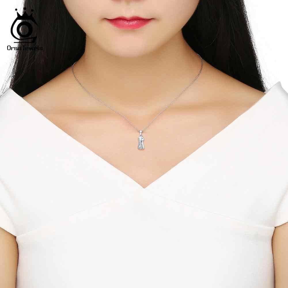 ORSA klejnoty 925 Sterling Silver kobiety naszyjniki mały człowiek Cute cartoon wisiorek krzyż wzór naszyjnik biżuteria srebrna prezent OSN130