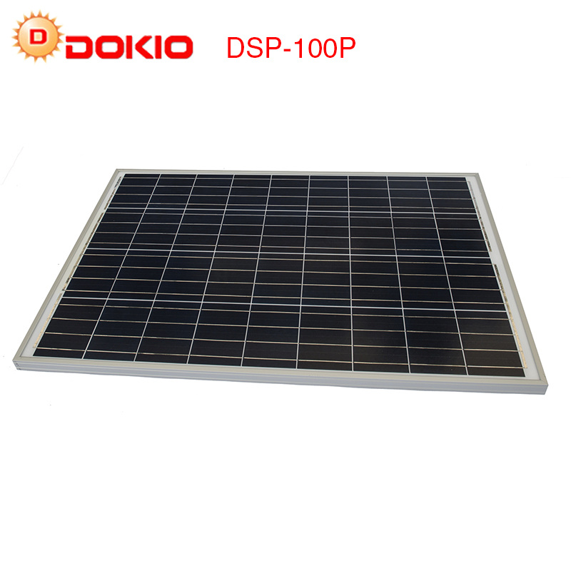 DOKIO 100W 18 Volt Solar Panel China + 10A 12/24 Volt Controller 100 Watt Solar Panels Cell/Module/System Charger/Battery