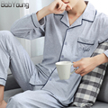 BabYoung 2017 Spring Brand Men Pajamas Sets Cotton Letter Embroidery Sleepwear Full Sleeve Cardigan and pajamas Pants For Male