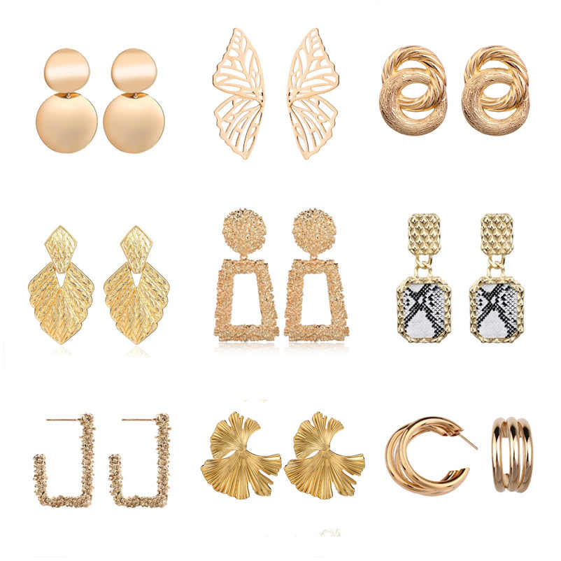 Vintage Earrings for Women Gold Color ZA Geometric Statement Earring 2019 Big Metal Drop Earing Hanging Fashion Party Jewelry
