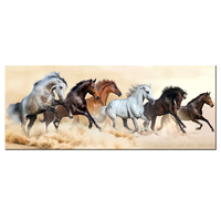 Modern Living Room Decoration Painting Canvas Prints Horse Herd Run In Clouds Of Dust Mural Wall