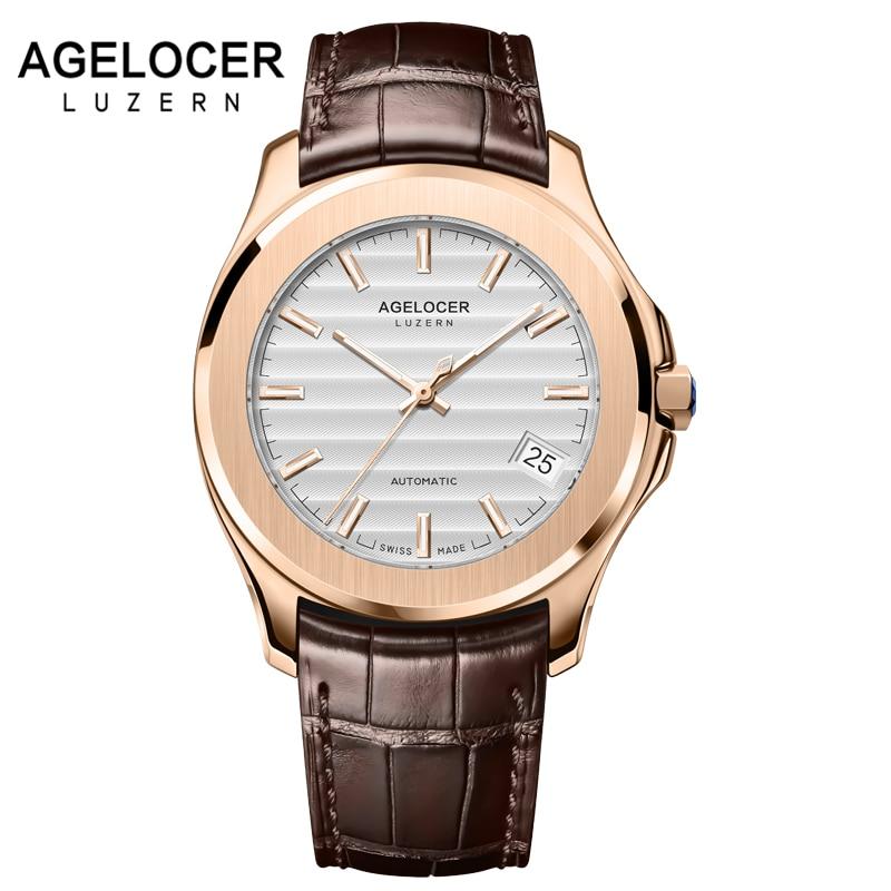 Leucht Schweiz Männer Uhr Automatische Mechanische 42 Stunden Gangreserve Datum Blaue Stein Crown Gold Uhren Männer Armbanduhr Uhr