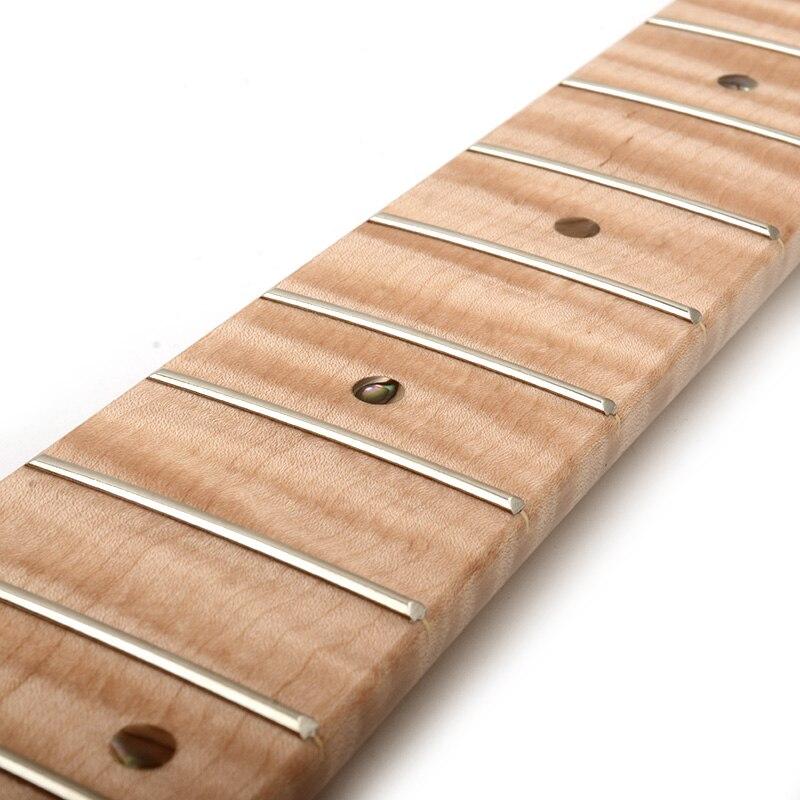 21 érable de flamme de tigre de cou de Fret avec des points d'ormeau brillant naturel pour le remplacement de cou de guitare électrique de TL - 5