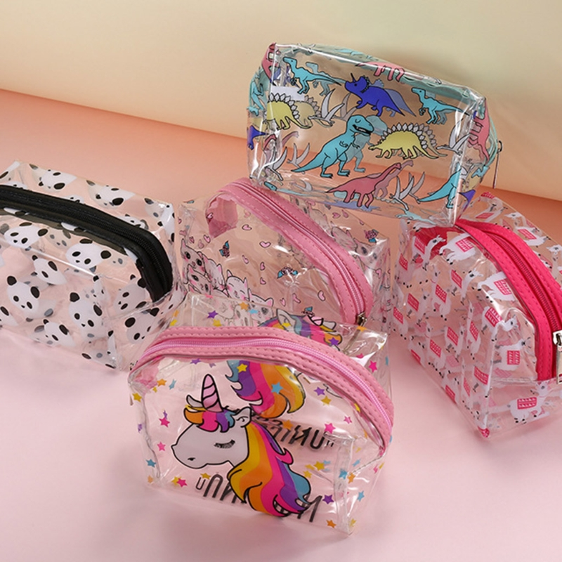 Pouch Makeup-Bag Toiletry Cosmetic Unicorn Clear Plastic Transparent Waterproof Cute title=