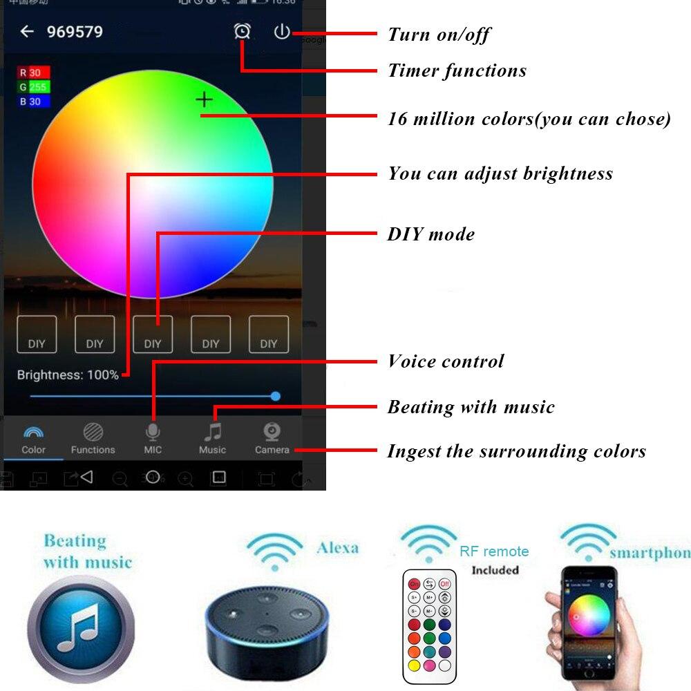 10x61mm inteligente wifi telefone app controle rgbrgbw