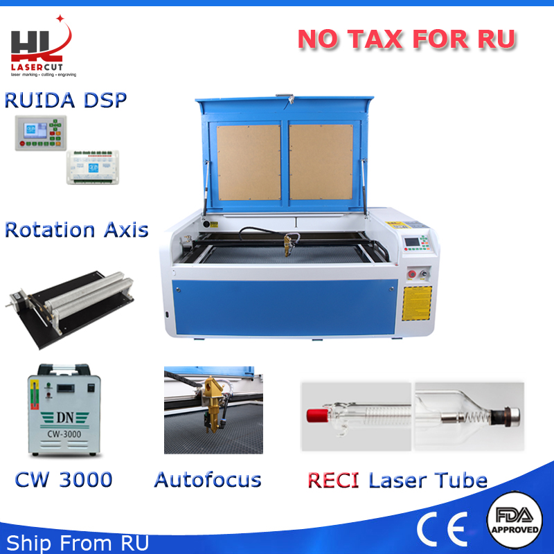 NO Tax Shipping From RU 100W Co2 USB Autofocus Laser Cutting Machine With DSP System Laser Cutter Engraver Chiller 1000 x 600 mm