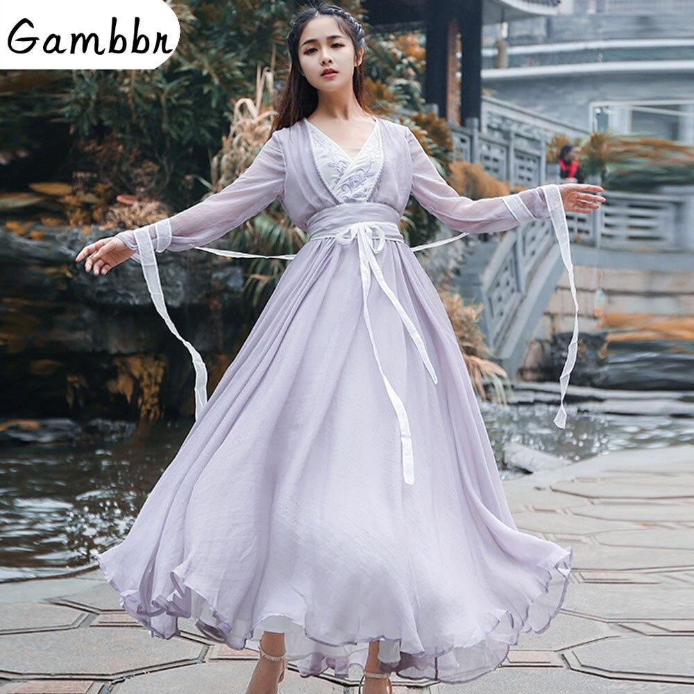Vestuário Chinês tradicional Vestido de Fadas Elegante Dinastia Han Roupas Princesa Roupa Hanfu Melhorou Bordado Traje Nacional