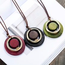 """vintage woman choker necklace Wholesale Fashion Jewelry Wooden pendant """"Handmade"""" Long necklace for women collares mujer kolye"""