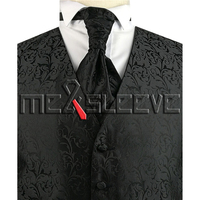 Fre Shipping OEM stylish men's tuxedo Black waistcoat with cravat set