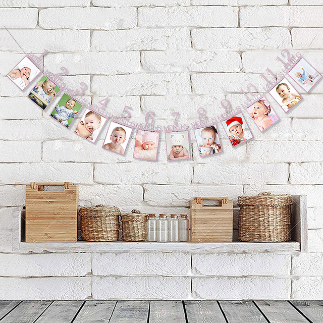 Digital 12 Months Picture Wall Flags Baby First Birthday Decor