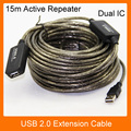 15M USB 2.0 Extension Cable Male to Female M/F Active Repeater Built-in Dual IC Chipset  Dual Shielding High Speed Transmission