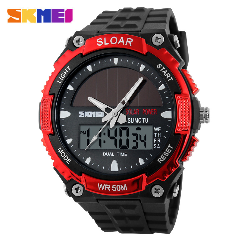 2016 New Energy Solar Watch Men's Digital Sports LED Watches Men Solar Power Dual Time Military Wristwatch Relojes Montre Homme ezon radio wave calibrate time digital men sports watch outdoor casual running swimming waterproof 50m wristwatch montre homme