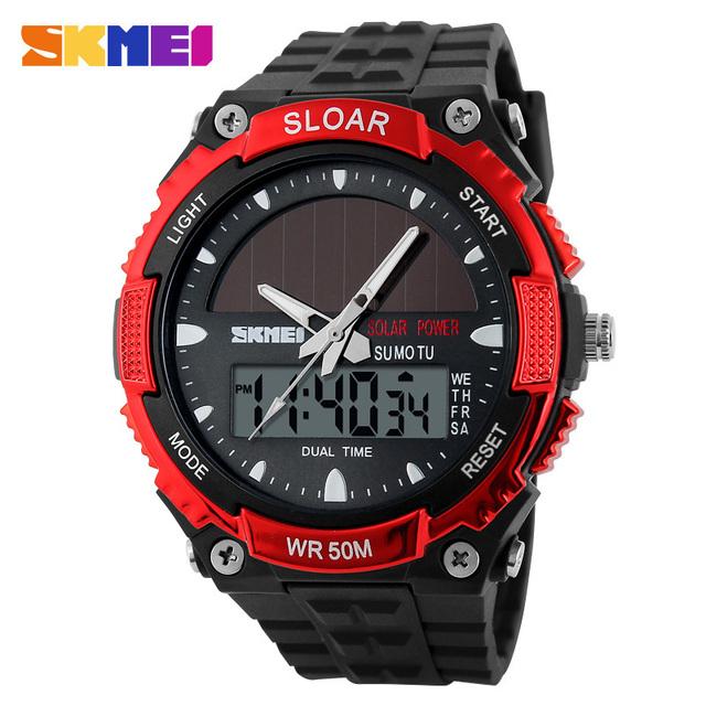 2016 Nueva Energía Solar Reloj Digital de Los Hombres Deportes LED Relojes Hombres Reloj Militar de Hora Dual Relojes Montre de Energía Solar Homme