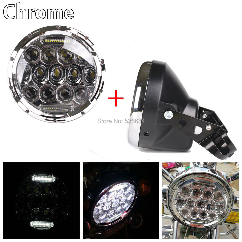 Chrome 75W 7inch led headlight Projector with DRL and Headlight shall Daymaker Housing Bucket for  Harley Davidson Softail Slim