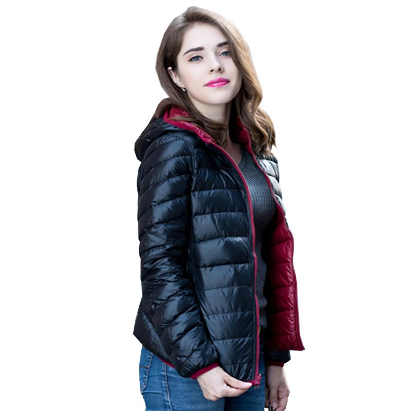 Ailegogo New Women Ultra Light Duck Down Jacket Double Side Reversible Winter Jackets Plus Size 4XL Feather Jackets Woman Coat