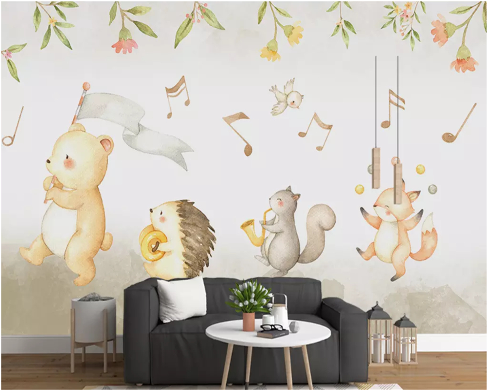 Купить с кэшбэком beibehang Customize Modern minimalist hand-painted cute bear children's room mural  papel de parede wallpaper hudas beauty