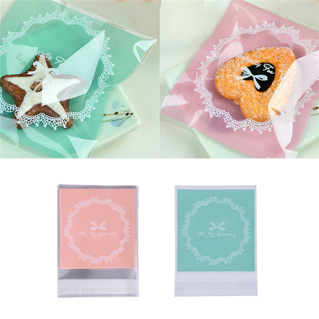 100 Pcs Plastic Candy Bag Bags Weding Baby Shower Cellophane Bowknot Self Adhesive Diy Cookie