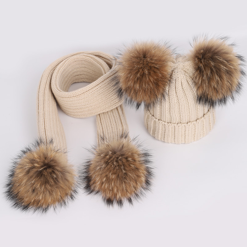 New Cute Children's Raccoon Fur pom poms Knit Beanie Hat Scarf Boy Girl Winter Thicken Hedging Cap Scarves Soft Ski Baby Kids 2