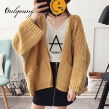 Onlyoung 2017 Autumn Winter Women Knitted Cardigan Coat Long Sleeve Casual Oversized Yellow White Female Sweater Pull Femme