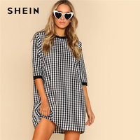 SHEIN Ribbed Trim Plaid Dress Round Neck Half Sleeve Women Gingham Cotton Shift Dress Spring Weekend