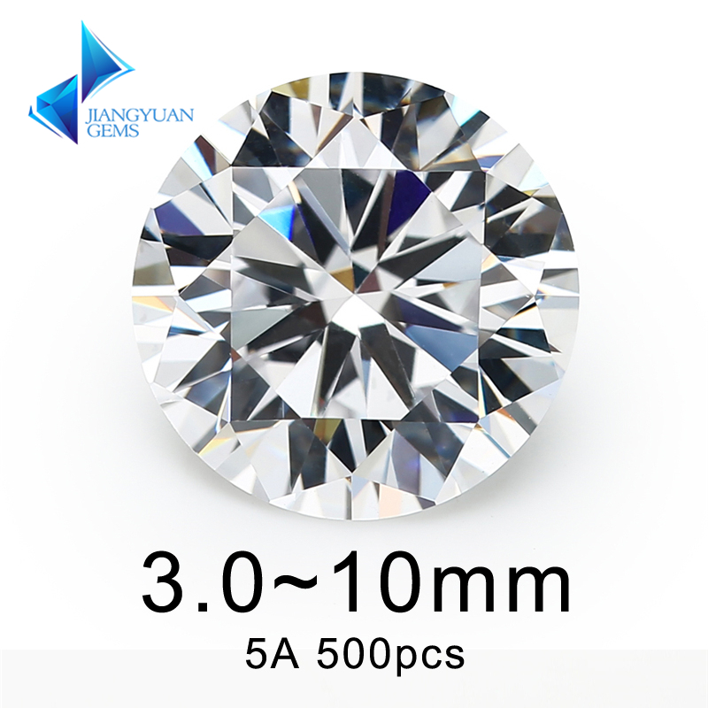 500pcs AAAAA CZ Stone 3.0~10mm White Round Cut High Quality Cubic Zirconia Synthetic Gems Stone