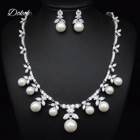 DOKOL New Fashion Marquise Cut Zircon Pearl Earrings Necklace Sets Silver Color Jewellery Crystal Set for Party DKS0028